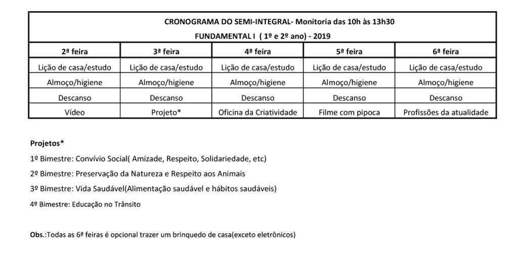 Cronograma Integral e Semi Integral