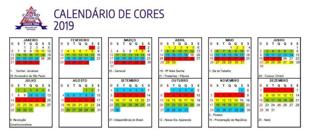 Calendário anual do cardápio integral e semi-integral do Colégio Castro Alves